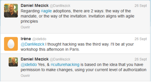 échange de tweet avec Dan Mezick